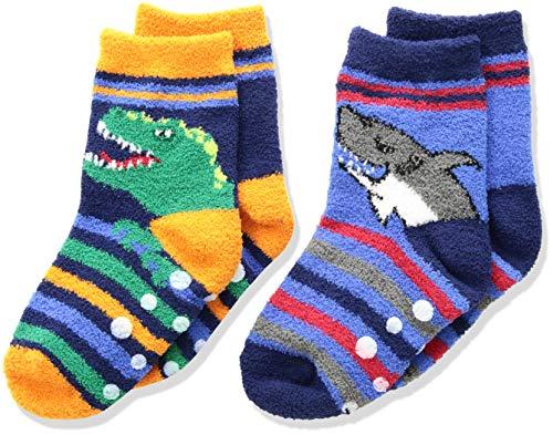 Jefferies Socks Boys' Little Dinosaur and Shark Fuzzy Non-Skid Slipper Socks 2 Pair Pack, Multi, X-Small