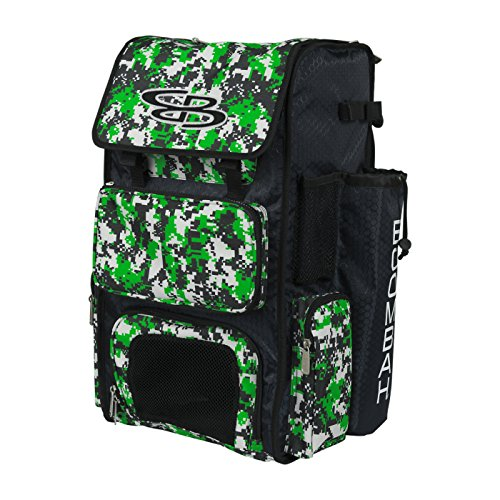 Boombah Superpack Bat Pack - Backpack Version (no Wheels) - Holds 4 Bats - Camo Black/Lime Green - for Baseball or Softball