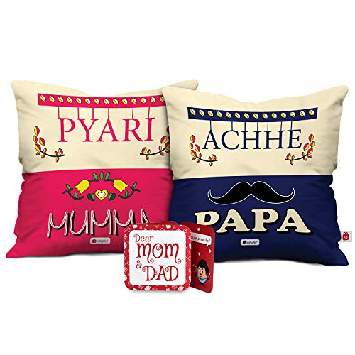 Indigifts Mom and Dad Soft Poly Satin Cushion with Filler (12x12-inches)