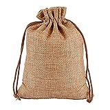 YFAX Bolsas de Lino de 50 Piezas, bolsitas de Lavanda con cordón de arpillera, bolsitas de algodón de Lino para joyería, Bolsas de Regalos de Boda, para Celebraciones-Brown  13X18cm