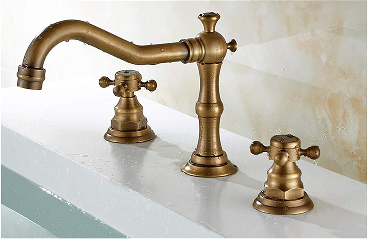 XPYFaucet Faucet Tap Taps ?Copper European three-hole double handle basin antique hot and cold water spiral basin