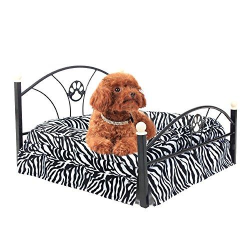 GR Hund/Katze Bett, Soft Warm Dog Kennel Pet Kissen Upscale Metall Rahmen mit Zebra-Streifen Matratze Bett (Color : Zimbra)