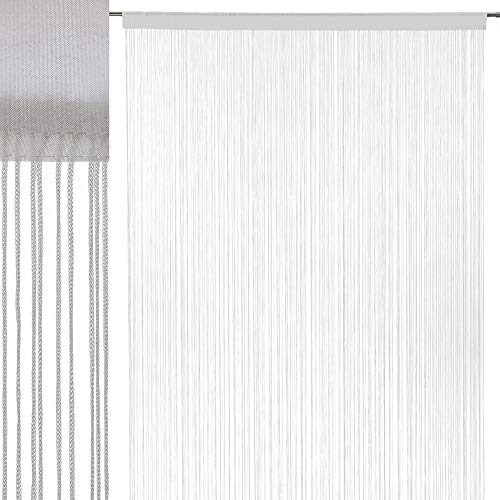 Cortina Hilos Blanca clásica poliéster 250x140 cm