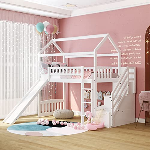 Loft Bed with Slide, House Loft Beds Twin Size with Step Storage Drawers Stairway Playhouse Bed for Kids Toddlers Girls/Boys, White