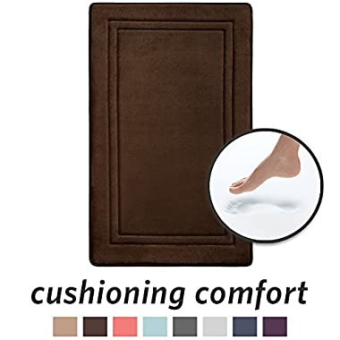 Microdry 10878 Quick Drying Memory Foam Bath mat with GripTex skid-resistant base, 21 x 34, Chocolate