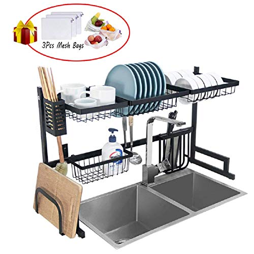 Ctystallove DSRK001 Dish Rack, Large, Black