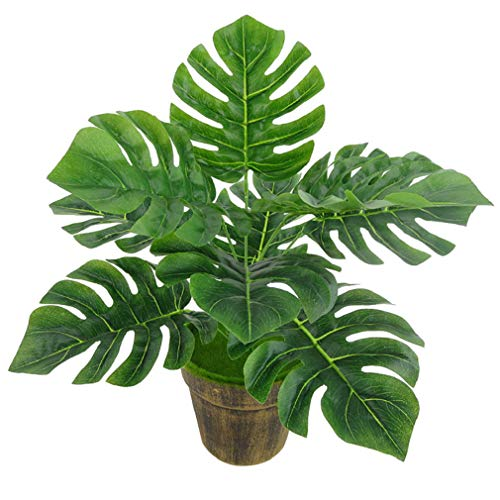 Familyhouse Artificial Monstera Plant Faux Fake Tropical Leaves Lifelike Greenery for Home Living Room Decor
