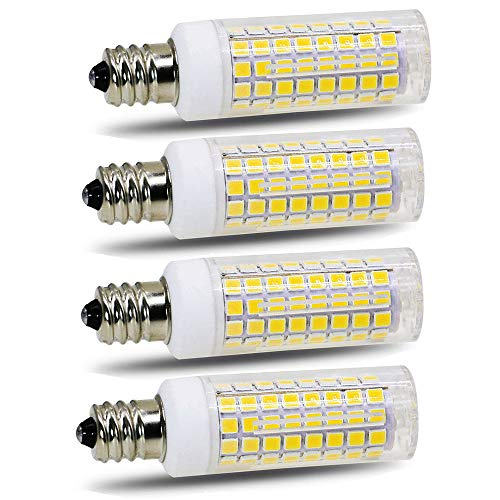 E11 led Bulb 75w 100w Halogen Bulbs Replacement, JD T4 e11 Mini Candelabra Base 110V 120V 130 Voltage Input Light Bulbs, Pack of 4 (Daylight White 6000K)