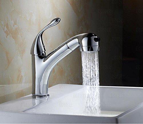 SADASD Rubinetto di rame European-Style Pull-Type calda e fredda rubinetto bacino banco antico lavabo sotto il rubinetto telescopico rubinetti
