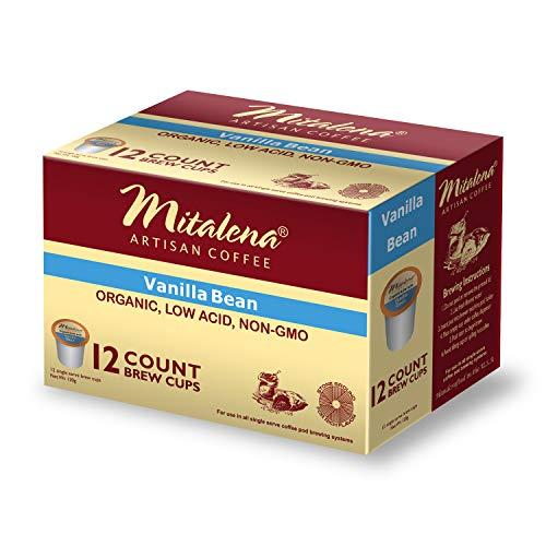 Mitalena Brand - 72 ct. Vanilla Bean Organic Arabica Low Acid Coffee Single Serve Brew Cups