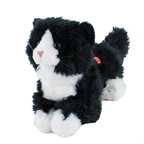 Teddys Rothenburg Kuscheltier Katze miauend mit Stimme liegend schwarz/weiß 23 cm Plüschtier Plüschkatze