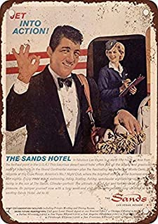Ohuu New Tin Sign Retro 1962 Dean Martin for The Sands Hotel Las Vegas Vintage Look Reproduction Pub Home Decor 8 x 12 Inch