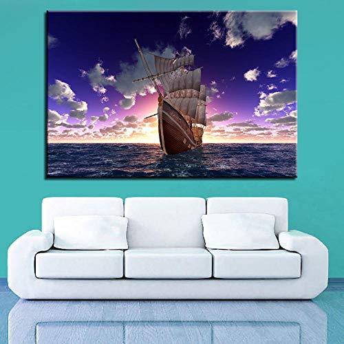 wZUN Póster Lienzo petrolero impresión Sala de Estar decoración del hogar imágenes de Vela 60x90cm Sin Marco
