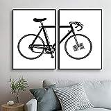 Blanco y negro arte de la pared de la bici de la pintura de la lona carteles e impresiones...