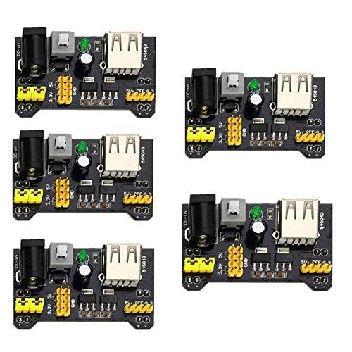 ETbotu Geschenken voor mannen vrouwen - 5 Stks Breadboard Voeding Module 3.3V 5V MB102 Geschakelde Header compatibel met voor Arduino PIC Pi