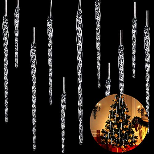 Clear Glass Icicle 3.5 - 7.8 Inch Twisted Clear Glass Icicle Christmas Ornaments Icicle Decorations Hanging (25)