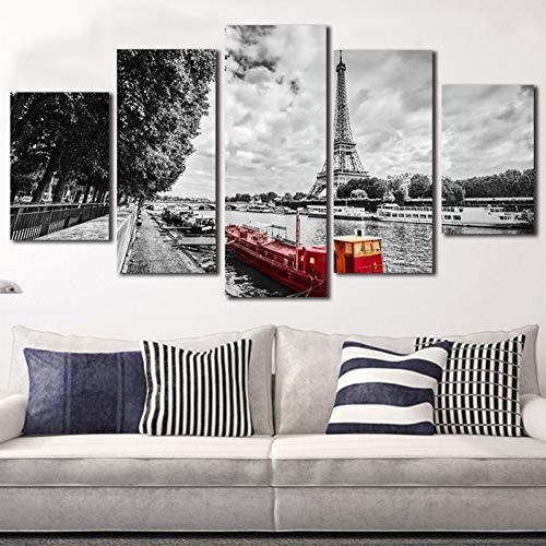LHJF Pinturas Decoración HD Cuadro Impreso Marco Moderno 5 Panel Torre Eiffel Paisaje para la Sala de Estar Decoración de Alta Quanlity Pintura de la Lona