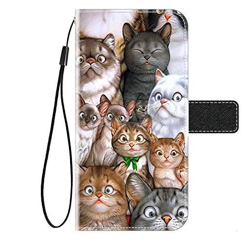 Kingyoe Coque HTC Desire 650 Étui en Cuir,Flip Case Folio Portefeuille de Protection Housse pour HTC Desire 650 Coque Cuir PU Wallet Pochette,Chat