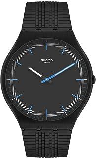 Swatch SKIN IRONY 42 st. Steel Quartz Rubber Strap, Black, 16 Casual Watch (Model: SS07B103)