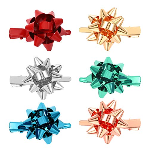 6PCS Christmas Bow Hair Clips for Women Girls Xmas Gift Bow Hair Clip Festive Alligator Hair Clips Holiday Hair Accessory Party Gifts (Style A - 6PCS Gift Bow)