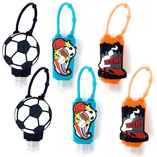 Botellas de Viaje Portátiles para niños,  Contenedor Desinfectante de Manos,  Botellas De Viaje Llavero, Mini Botella de Viaje Vacía para Rellenable Gel 30ml # 6 Piezas (fútbol Baloncesto Coche)