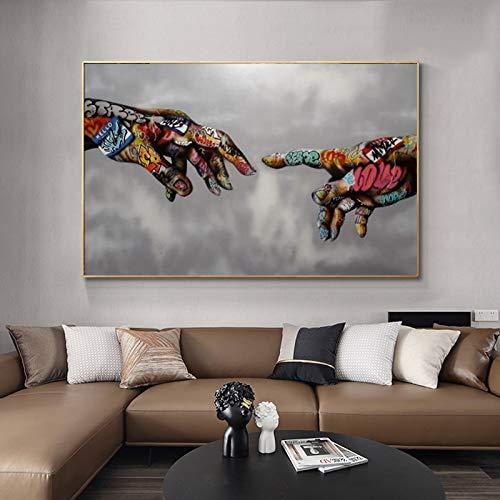 WAGUZA Graffiti Art Street Wandkunst Leinwand Malerei Zusammenfassung Bunte Hand Gottes Bild Wandkunst druckt Plakate für Wohnzimmer Dekor
