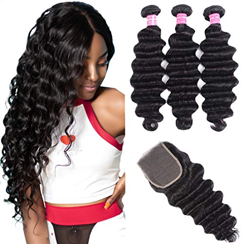 UNice Hair Brazilian Loose Deep Wave Hair 3 Bundles with 4x4 Lace Closure Free Part, Unprocessed Human Virgin Hair Weave Extensions Natural Color (16 18 20+14 Closure)
