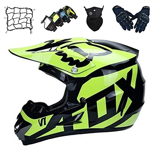 Conjunto Casco Motocross Niños, Casco Motocicleta Cara Unisex con Gafas/Máscara/Guantes/Red de Bungy, Cascos Protección Adultos para Dirt Bike Downhill Enduro MTB ATV - con Diseño Fox - Amarillo