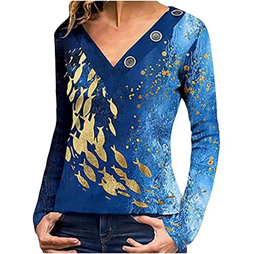 FSUYWQ Camiseta Casual de Otoño e Invierno Temperamento de Mujer en Forma de V Cuello con Botones Azul Camiseta de Manga Larga Estampada XXL Azul