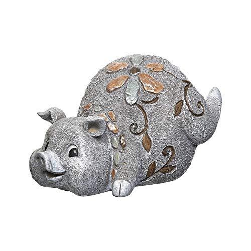 Roman Garden - Pebble Pig Statue  6H  Garden Collection  Resin and Stone  Decorative  Garden Gift  Home Outdoor Decor  Durable  Long Lasting