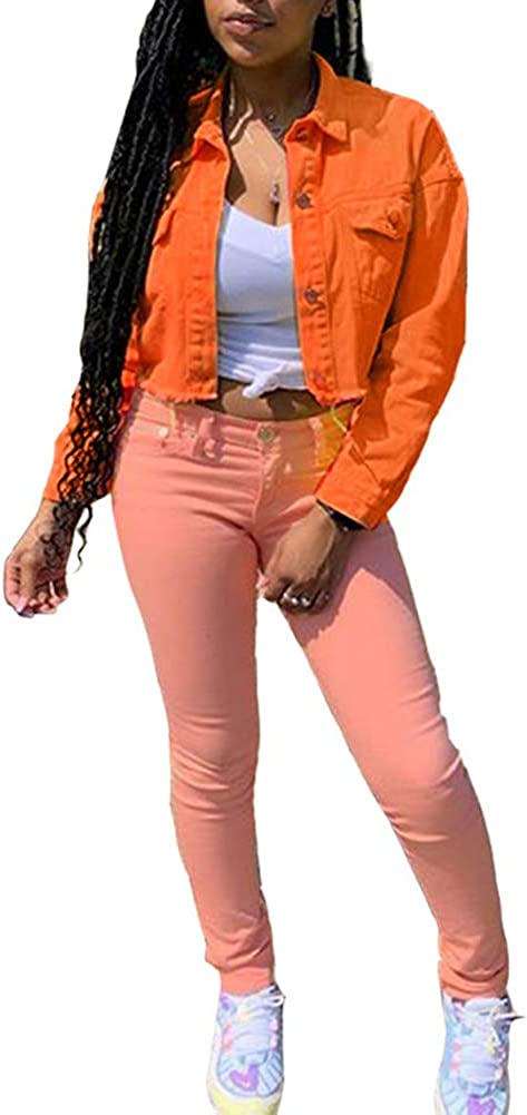 Women's Denim Jackets Long Sleeve Button Slim Fitted Autumn Coat Outwear Crop Tops