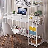 Mesa de escritorio para computadora en casa o oficina, estación de trabajo de 4 niveles estantes de almacenamiento para ordenador portátil, mesa de estudio, mesa de estudio, 122 x 40 x 110 cm D-C