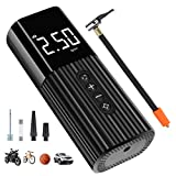 JESTOP Mini Car Air Compressor Tire Inflator, Handheld Air Pump with Emergency Lighting, Portable Car Pump with Digital Display for Bike Tire and Other Inflatables