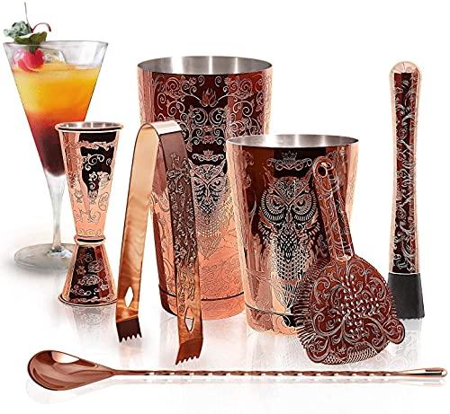 SKY FISH Set di Shaker Per Cocktail - Kit Barman Per Cocktail in Rame Inciso in Confezione Regalo Da 7.