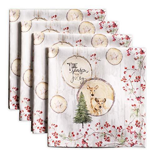 Maison d' Hermine Mountain Life 100% Baumwolle Weiches und bequemes 4er-Set Servietten für Familienessen | Hochzeiten | Cocktail | Küche | Startseite | Erntedankfest/Weihnachten (45 cm x 45 cm)