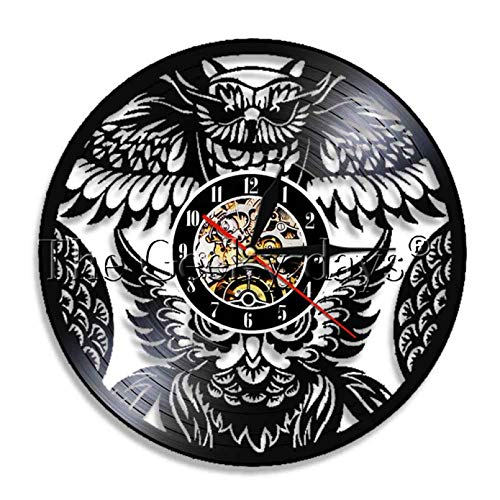 BBNNN Nachteule Vögel Vintage Vinyl Schallplatte Wanduhr Handgefertigt EIN Vogel von Minerva Tiere Home Wandkunst Raum 3D Quarz Dekor Uhr
