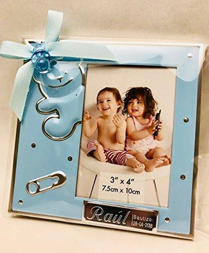 Marcos fotos para bautizo niño GRABADOS PERSONALIZADOS (pack 12 unidades) portafotos regalos invitados marco azul
