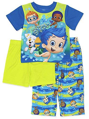 Bubble Guppies Toddler Boys 3 Piece Shorts Pajamas Set (2T, Blue/Green)