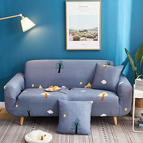 Sofa Covers 2 Seaters Blue Plaid Couch Cover Polyester Spandex Printed Sofa Slipcover Stretch Fabric Sofa Protector Couch Pet Protector,Settee Covers for Loveseat