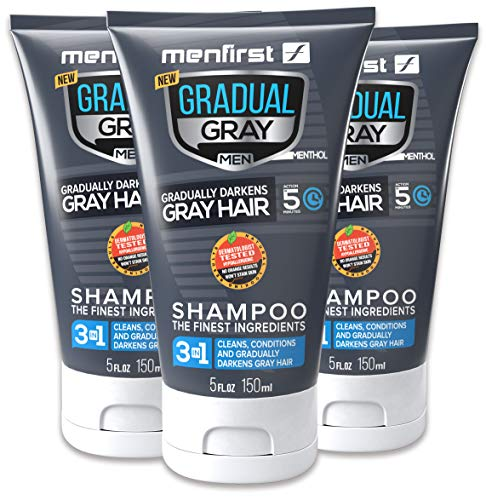 MENFIRST Gradual Gray 3-in-1 Grey Hair Reducing SHAMPOO For Men - Scalp Wash that Cleans, Darkens, Conditions, and Gradually Reduces Grey and White Hair Color - 3 Pack