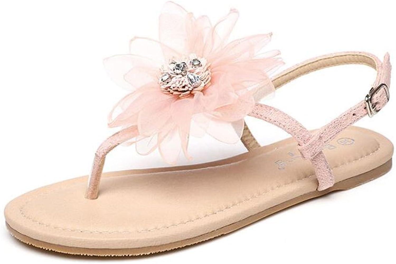 Fairy shoes Xia Pingdi Female Sandals Ladies Pink Flowers Beach Feet shoes
