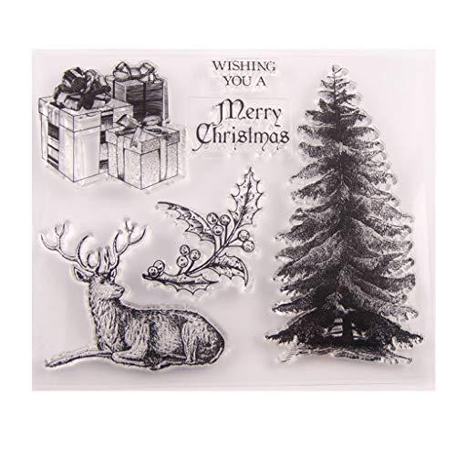 PINH-lang DIY Silikon Klar Stempel, Weihnachtsbaum Stempel Für Scrapbooking Album Foto Kartenbasteln Zeichen DIY Weihnachten Thanksgiving Geschenke