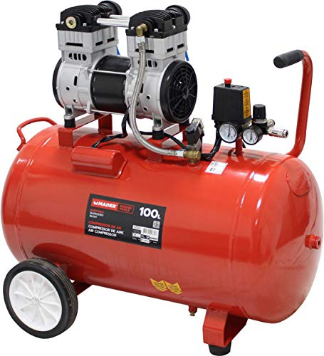MADER POWER TOOLS - Compresor de aire (sin aceite) 100L 2HP - silencioso - ecologico...