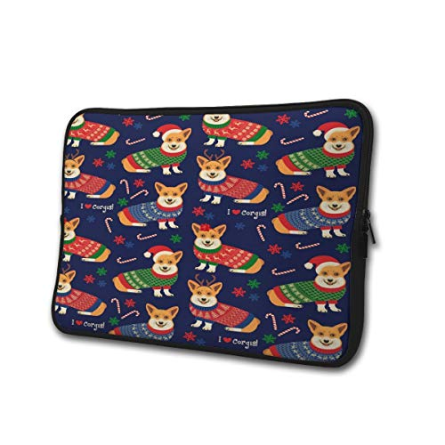 SWEET-YZ Laptop Sleeve Case Christmas Pattern Corgis Notebook Computer Cover Bag Compatible 13-15 Inch Laptop