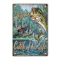 RCY-T Retro Fishing サイン, 軽量アルミ壁の装飾ヴィンテージサイン for Men Cave Coffee Bar Home Garage Movie 20x30cm
