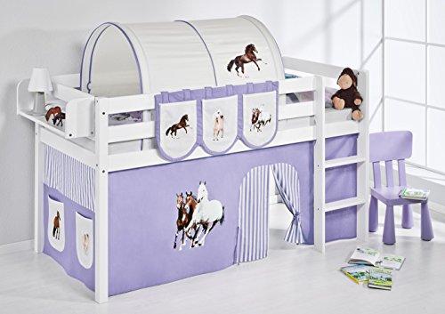 Lilokids Spielbett Jelle Pferde, Hochbett mit Vorhang Kinderbett, Holz, lila/beige, 208 x 98 x 113 cm