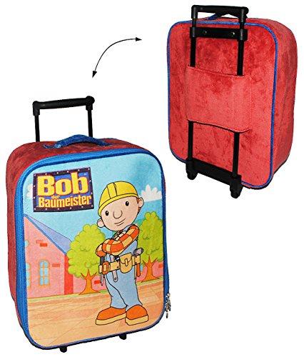 großer Trolley  Bob der Baumeister  - Samt Plüsch - für Kinder - Trolly Kindertrolley / Kindertrolly - Kindertrolly Plüsch Reiseset - für Jungen - Reise Flu..