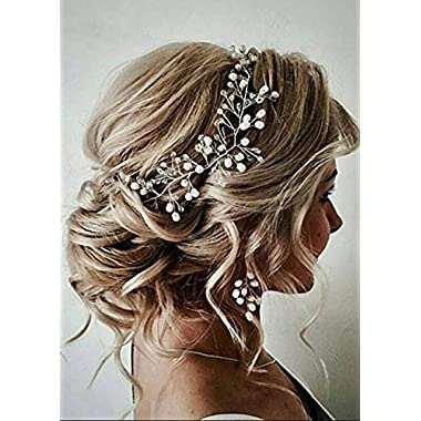 FXmimior Bride Hair Accessories Crystal Hair Vine Earrings Sets Headband Wedding Hair Comb Evening Party Hair Piece (silver) (headband ONLY)