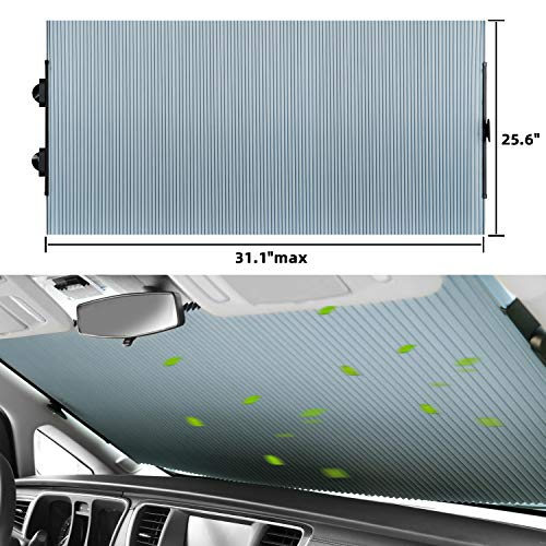 SEINECA Car Retractable Windshield Sun Shade - Blocks UV Rays Sun Visor Protector, Foldable Sunshade to Keep Your Vehicle Cool and Damage Free, Easy to Use, Fits Various Sizes of Auto