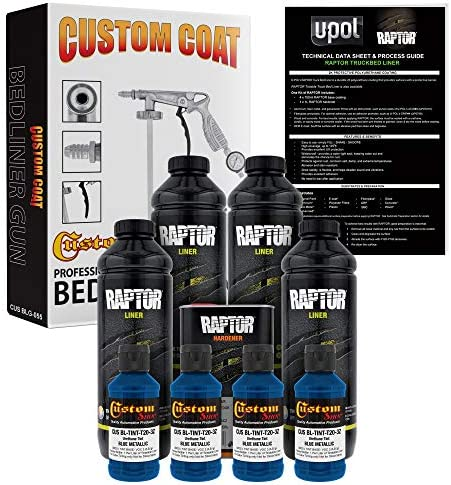 U Pol Raptor Blue Metallic Urethane Spray On Truck Bed Liner Kit and Custom Coat Spray Gun with product image